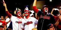 Cleveland Indians fans cheering for team