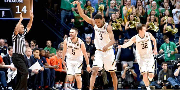 Notre Dame Fighting Irish players celebrating