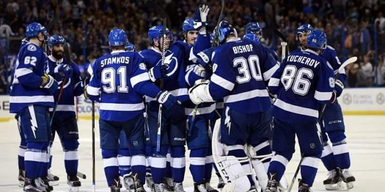Tampa Bay Lightning team celebrating