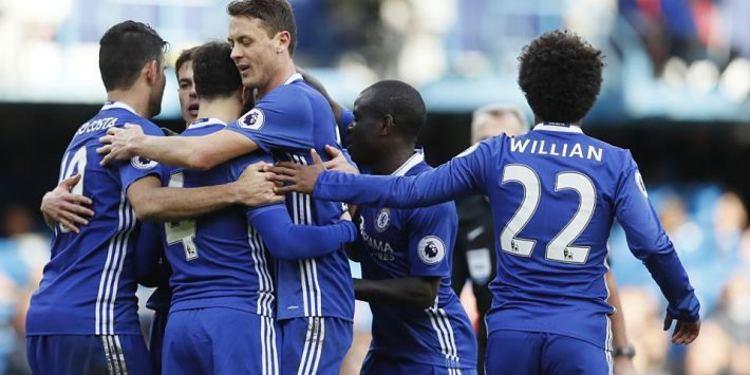 Chelsea FC players celebrating