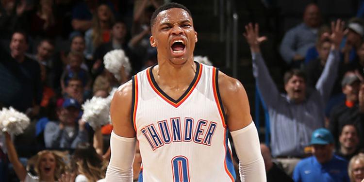 Oklahoma City Thunder player celebrating