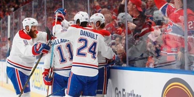 Montreal Canadiens players celebrating