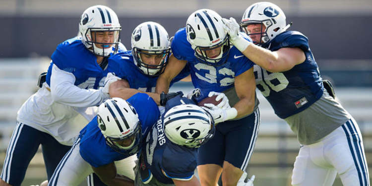 BYU players during practice