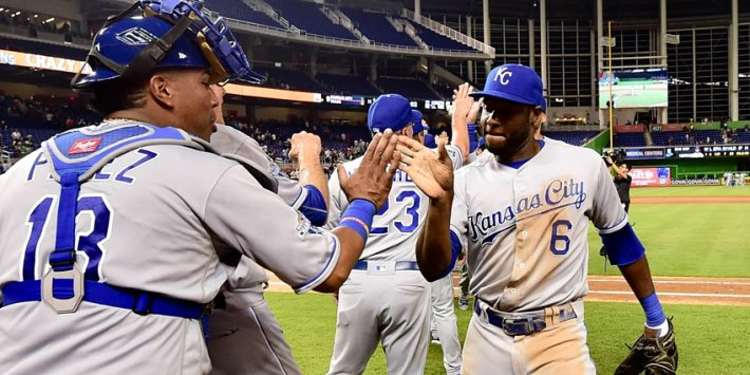 Royals' players celebrating