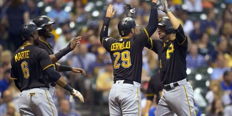 Pirates' teammates celebrating