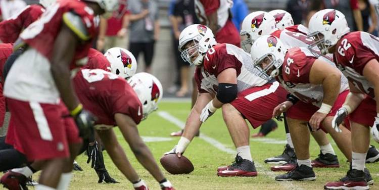 Arizona Cardinals team during practice