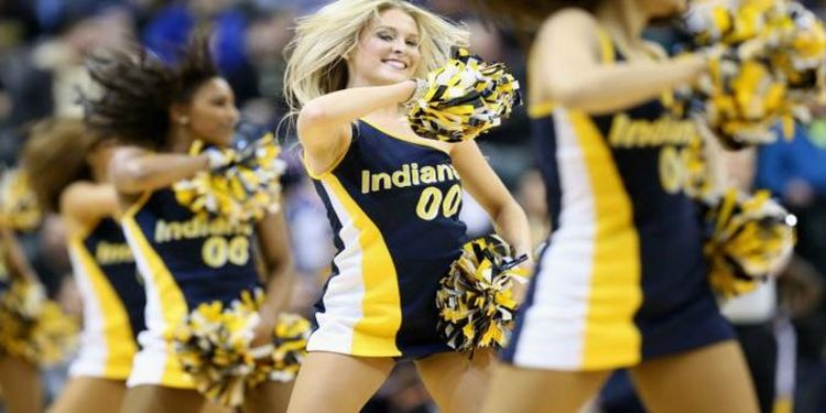 Pacers Cheerleaders On The Basketball Court