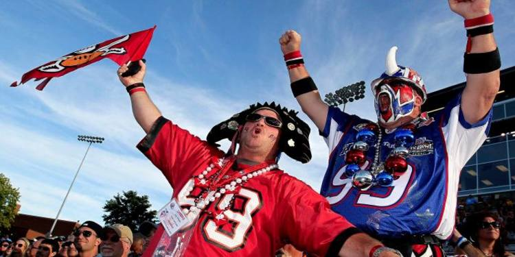 NFL Fans IN Team Jersey's Cheering