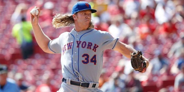 Noah Syndergaard pitching during a game