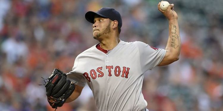 Eduardo Rodriguez pitching during a Boston game