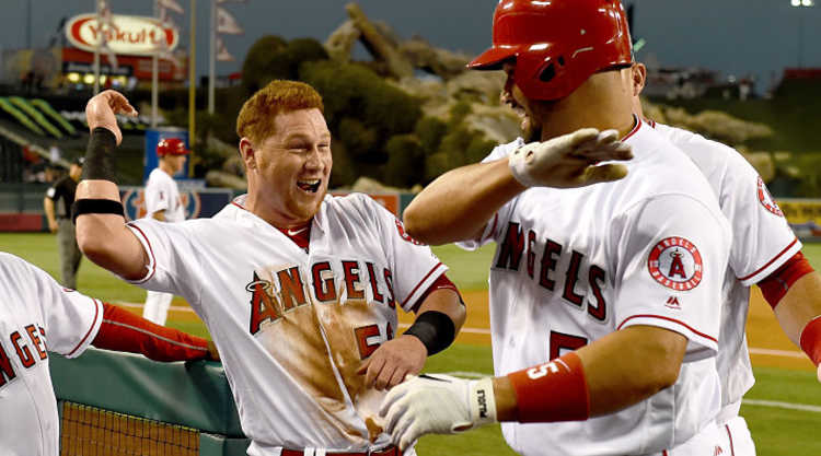 Los Angeles Angels Celebrate In Doug out