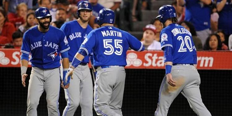 Toronto Blue Jays teammates gathered around