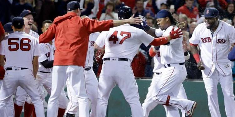 Boston Red Sox  team celebrating