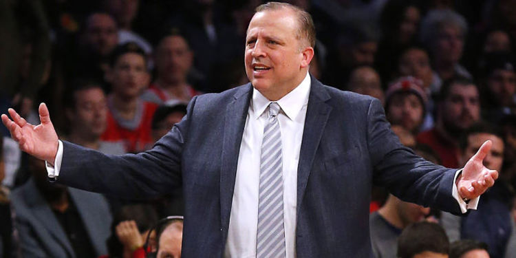 Coach Tom Thibodeau giving instructions