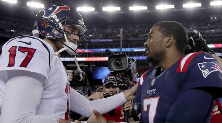 Jacoby Brissett Gets Congratulated by Brock Osweiler