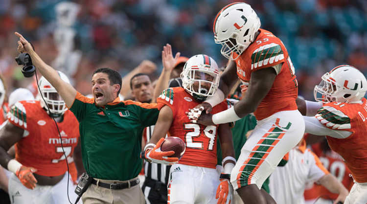 Miami Hurricanes Players Celebrate