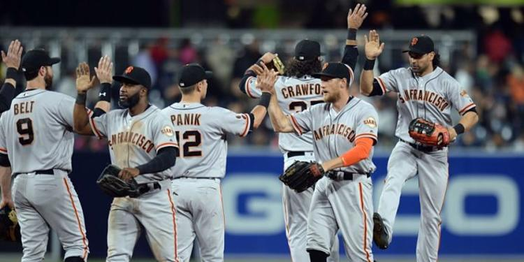 San Francisco Giants Celebrating After Winnign A Game