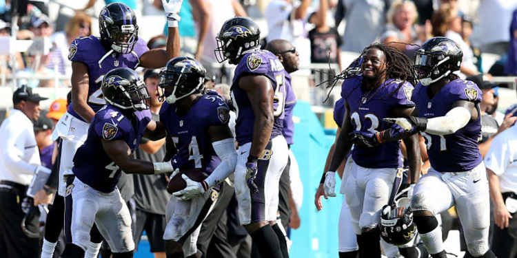 Baltimore Ravens team celebrating