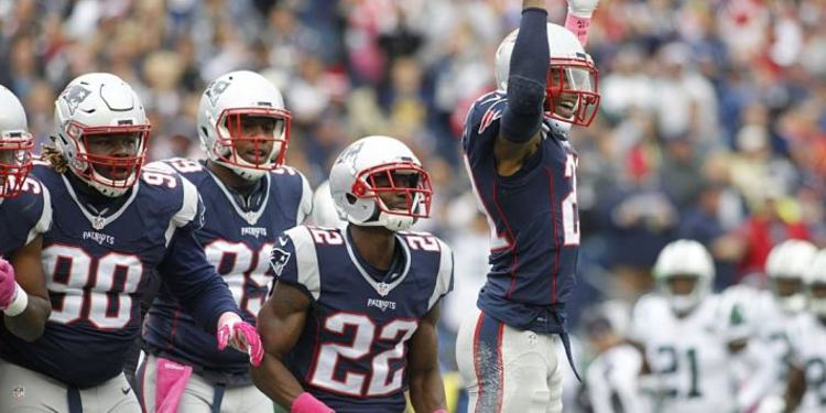 New England Patriots players celebrating