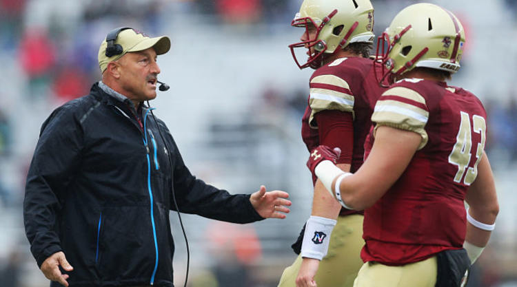 Boston College Eagles Players Talk With Coach