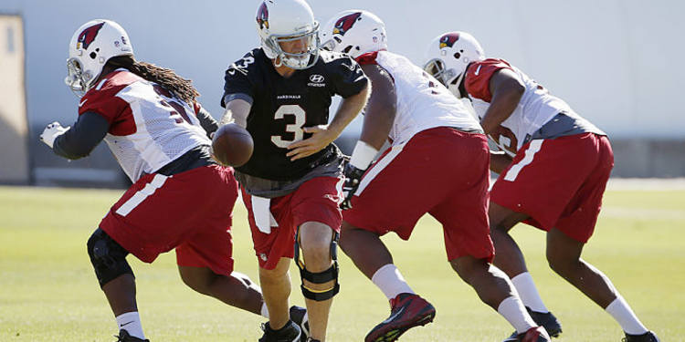 Arizona Cardinals players during practice