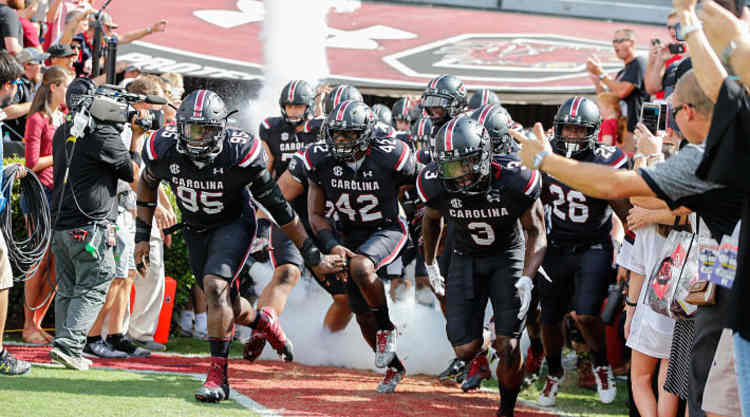 South Carolina Gamecocks Players take The Field