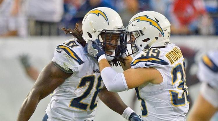 San Diego Chargers players celebrate TD