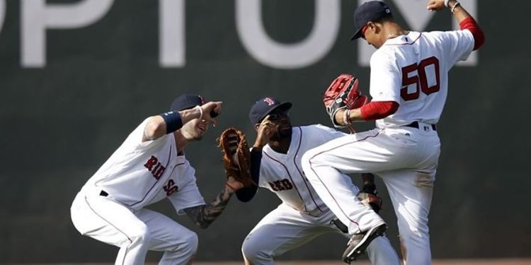 Boston Red Sox players celebrating