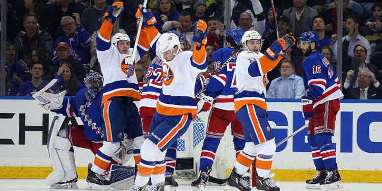 New York Islanders celebrating