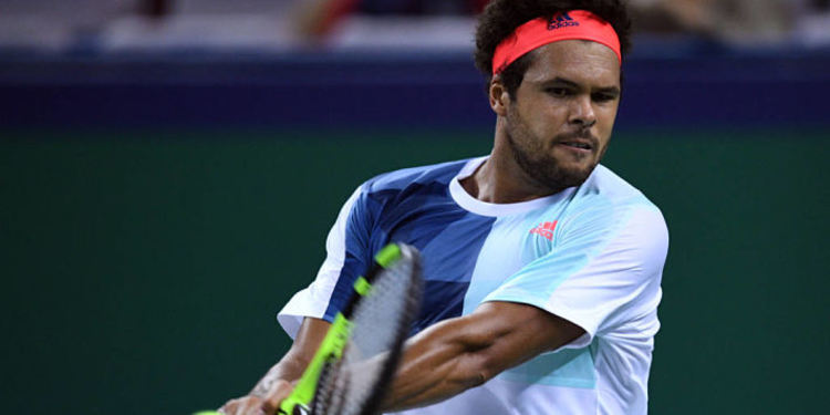 Tennis player Jo-Wilfried Tsonga in action