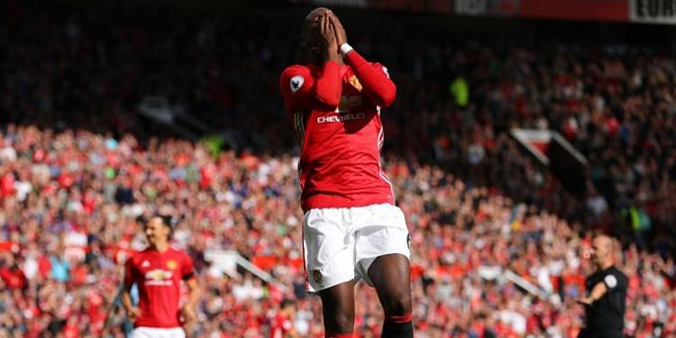 Paul Pogba lamenting after a draw