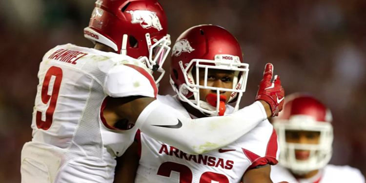 Arkansas safeties Josh Liddell (28) and Santos Ramirez (9)