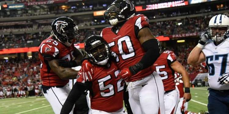 Atlanta Falcons players celebrating