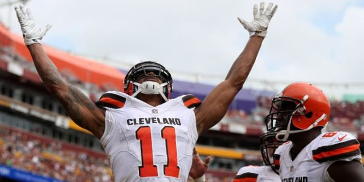 Terrelle Pryor and a teammate celebrating