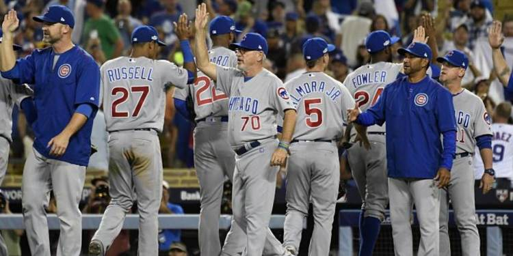 Chicago Cubs Salute Each Other