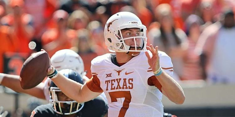 Quarterback Shane Buechele #7 of the Texas Longhorns