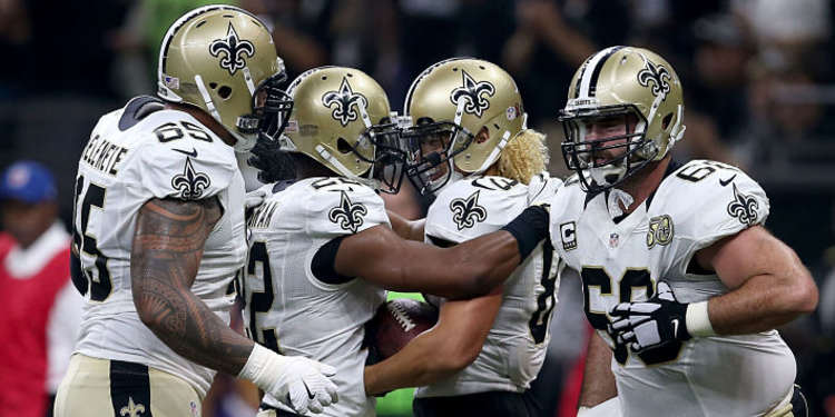 New Orleans Saints  players celebrating