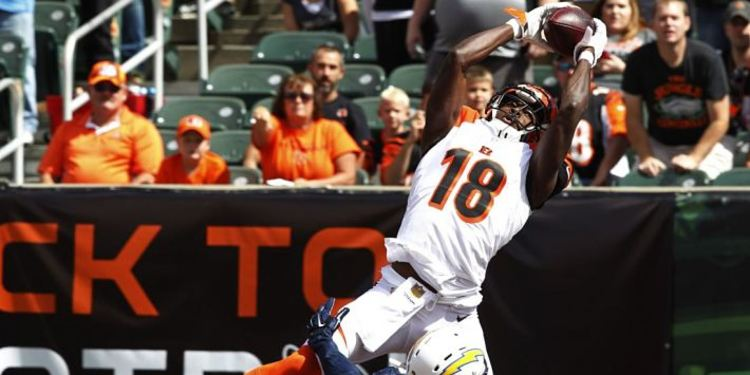 A.J. Green catching the ball in the air