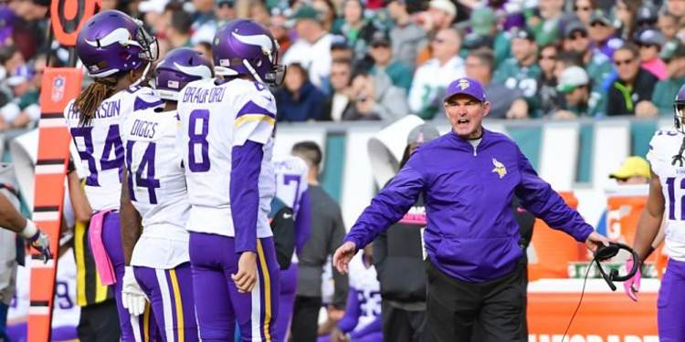 Minnesota Vikings coach giving out instructions