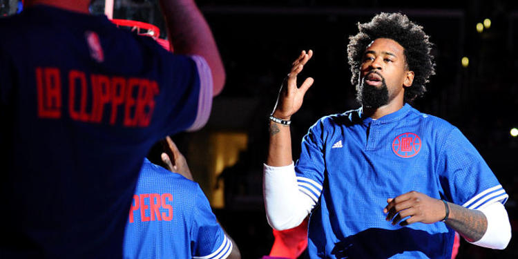 DeAndre Jordan at the game presentation with his teammates