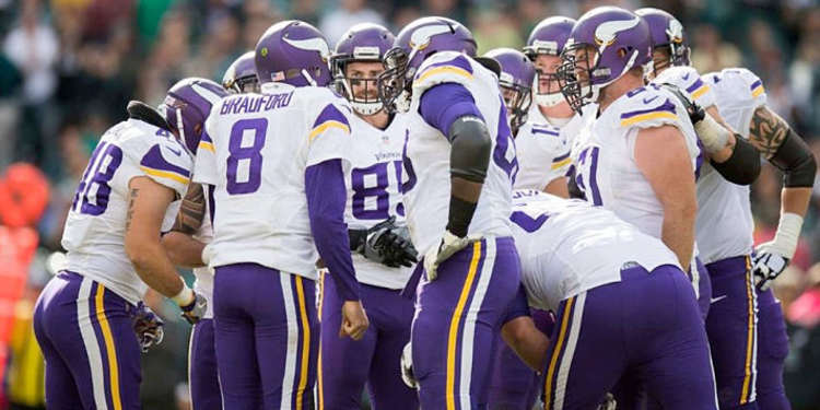 Minnesota Vikings team gathered around