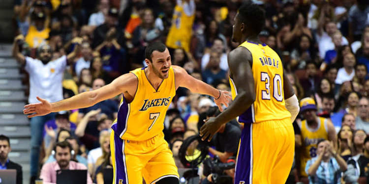 Los Angeles Lakers players celebrating
