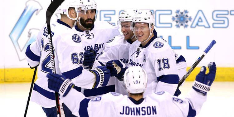 Tampa Bay Lightning team celebrating