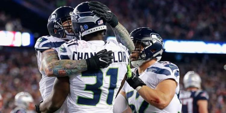 Seattle Seahawks players celebrating