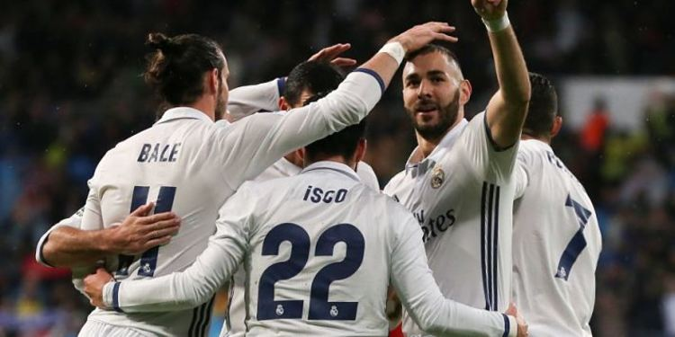 Real Madrid players celebrating