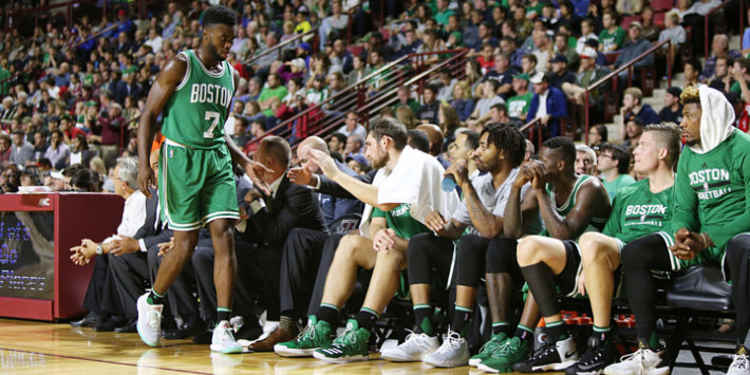 Boston Celtics players in bench
