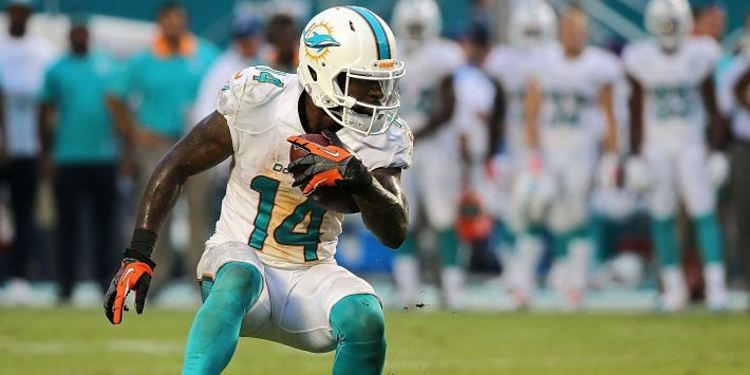 Dolphins player Jarvis Landry in action