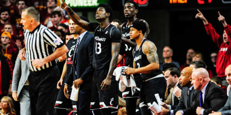 Cincinnati Bearcats players in bench