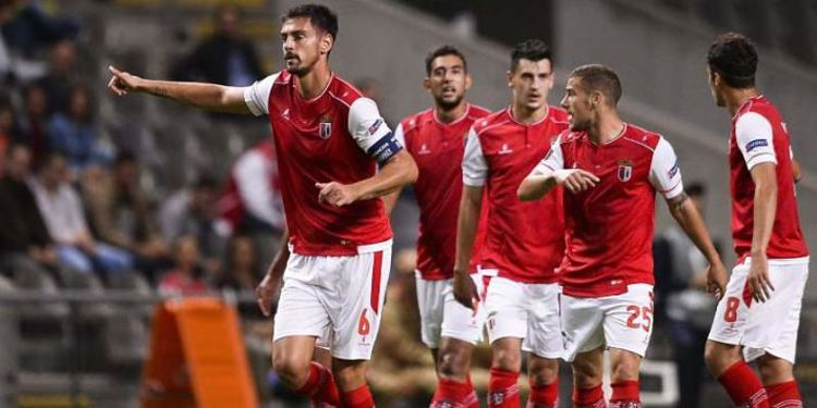Sporting Braga players celebrating