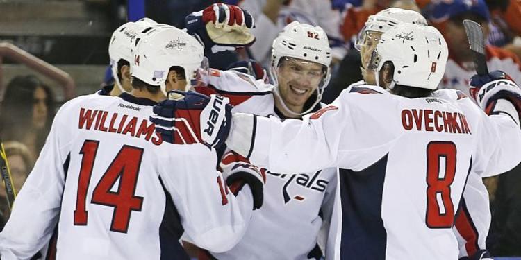 Washington Capitals players celebrating